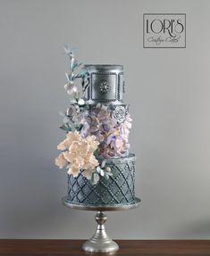Smoky Gray wedding cake with light pink sugar flowers