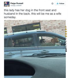 This lady has her dog in the front seat