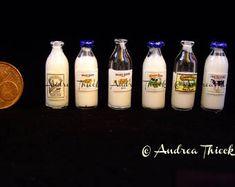 Miniature Milk Bottle - choose label and filling quantity scale Great British Bake Off, Scale, Label, Etsy Seller, Milk, Miniatures, Baking, Bottle, Handmade