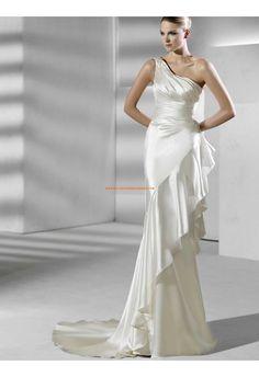 Belle robe de mariée sirène asymétrique satin stretch perles
