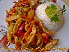 Csípős édes savanyú csirkemell http://megoldaskapu.hu/csirkemell-receptek/csipos-edes-savanyu-csirkemell . 50 dkg csirkemell filé . 2 szál újhagyma . 1 szál sárgarépa . 2 db hegyes erős paprika . 1 piros kaliforniai paprika  . 1 darabolt ananászkonzerv . 1 dl. ketchup  . 2 ek. fehérbor ecet  . 2 ek. szójaszósz  . 3 ek. méz . 1 ek. kemé...