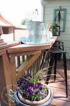 Create additional seating for your deck by building a flip up deck bar. Perfect … Create additional seating for your deck by building a flip up deck bar. Perfect for parties and entertaining for your outdoor living space. by DeDe Bailey Deck Seating, Outdoor Seating, Seating Areas, Outdoor Bars, Party Outdoor, Outdoor Spaces, Outdoor Kitchens, Backyard Seating, Outdoor Patios
