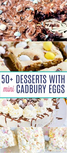 Mini Cadbury Egg dessert recipes including a Cadbury Egg Skillet Brownie, Cadbury Egg Popcorn Bars, and Baked Cadbury Egg Donuts! A few things to note about these mini cadbury egg desserts: Please Mini Eggs Cake Recipes, No Egg Desserts, Mini Desserts, Easter Recipes, Dessert Recipes, Easter Desserts, Mini Eggs Cookies, Soft Baked Cookies, Easter Cookies
