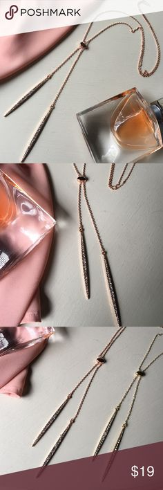 """✨ Diamond + Rose Gold Lariat Necklace✨ ✨ Diamond  + Rose Gold Long Lariat Necklace. ✨Gorgeous faux diamonds  + plated rose gold on a delicate but sturdy Lariat rose gold chain. ✨Also available in Gold.✨ ✨Necklace slips on with no clasp closure.✨ ✨✨Measures 21"""" long/42 total ✨✨✨✨Make an offer! ✨✨✨✨✨✨For the best discounts + free shipping, ask me to create a custom bundle!  Jewelry Necklaces"""