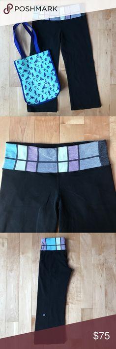 Lululemon Crop Yogas Size 4 Lululemon crop yogas size 4, great condition - slight wash wear, cute pattern on the waistband! lululemon athletica Pants Ankle & Cropped