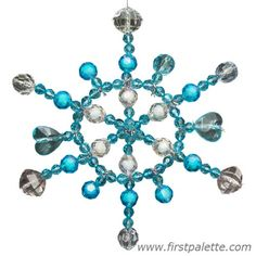 Craft a lovely snowflake ornament with pipe cleaners strung with large beads.