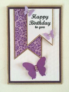 Fødselsdagskort, lilla, sommerfugle