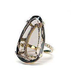 Ring | Suzanne Kalan. 18k Gold, Pear Shaped Smoky Quartz and Diamonds