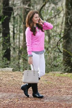 Winter White outfit idea with pink @jcrew sweater, hunter boots and Kate Spade on Peaches In A Pod Blog.