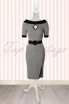 50s Cornelia Houndstooth Pencil Dress in Black and White - Miss Candyfloss