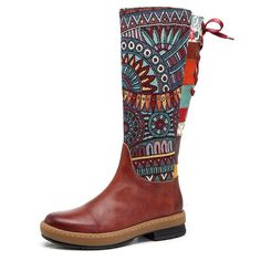 SOCOFY Bohemian Splicing Pattern Flat Leather Knee Boots   Veja outras lindas aqui ó: https://www.newchic.com/boots-3599/p-1212015.html?rmmds=detail_recommendations