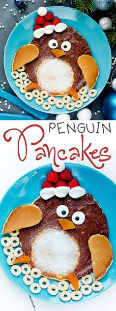 Easy Penguin Christmas Pancakes For Kids (made with Nutella!) | Over 15 fun, cute and easy Christmas breakfast ideas for kids! These creative recipes are so simple and easy to make, but are sure to make Christmas morning extra special. Everything from pancakes to toast and oatmeal! Listotic.com