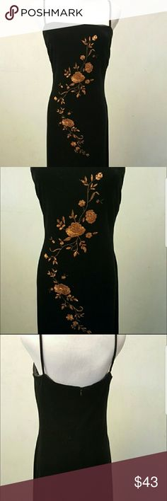 Velvet embroidery dress Black velour dress with spaghetti straps and gold embroidery details. In brand new condition worn only one time. 44 inches long from the armpit to hem Rachel Kaye Dresses Maxi