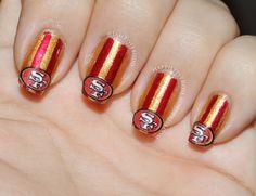 September Nail Art Challenge Football San Francisco 49er Gold And Red Design