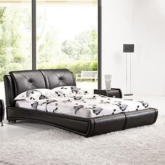 Grande Leatherette Bed with Crystal Tufting Headboard