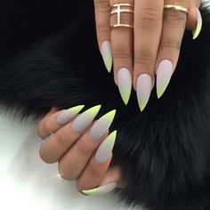 A nice mix  soft grey with Neon tips  @chaunpnails