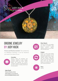 Orgone jewelry by Judy Huck Affordable Art, Clear Quartz, Framed Art Prints, Symbols, Stone, Jewelry, Design, Rock, Jewlery