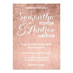 Luxury faux rose gold leaf Wedding Card #rosegold #weddinginvitations #rosegoldwedding #chic #sparkle #glitter #watercolor