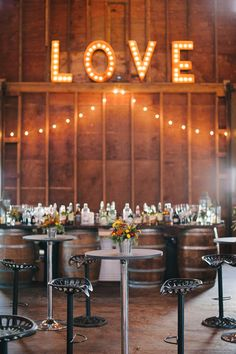 Light Love Sign | Brklyn View Photography | TheKnot.com