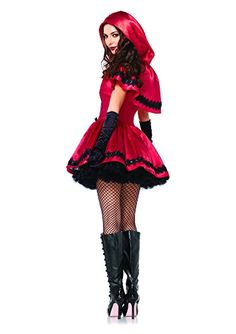 Leg Avenue Women's 2 Piece Gothic Red Riding Hood Costume, Red/White, Small…