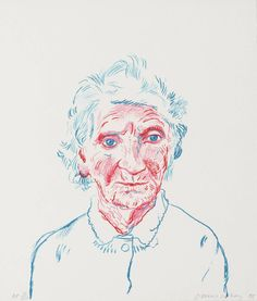 "Portrait Illustration ""Portrait of Mother III"" - lithograph by David Hockney - I'm currently loving David Hockney's ""Portrait of Mother III,"" the simplicity of line and color fascinates me. This print is a lithograph; keep in mind that each color is pr… David Hockney Portraits, David Hockney Paintings, David Hockney Prints, David Hockney Tate, Peter Blake, Jasper Johns, Robert Rauschenberg, Jackson Pollock, Portrait Illustration"