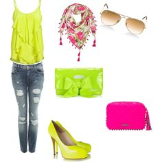 Neon Tank Top + Blue Jeans + Neon Heels + Floral Scarf + Neon Clutch + Neon Pink Clutch + Tan Sunglasses everything but the shoes