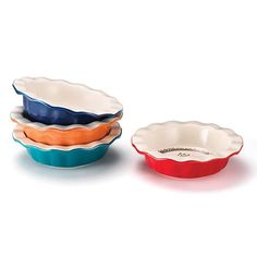 Petite Pie Dishes Set of 4 Next-day gourmet! Prepare and create perfect pies made with lots of love. Set of 4 mini ceramic pie dishes with inspirational sayings on each one • Ruffled edges • Each set includes one orange, blue, red, and teal dish AvonRep shirlean walker #cook #kitchen #gourmet