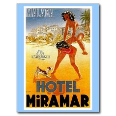 A wonderful old travel advertisement adorns this postcard. This nostalgic retro image is from a 20th century tourism poster which is also available in our shop. This unique advertising ephemera conjures up dreams of visiting exotic places. Become a tourist with us and check out all the beautiful vintage travel items we have refurbished.<br/><br/>  At The Vintage Vamp we obtain high quality images of vintage artwork. Then we use state of the art technology and editing to bring back to life…