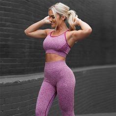 4451f632886a1 2 Piece Women Yoga Sets Fitness Sport Bra+Yoga Pants Leggings Sport Suit  Gym Running Active Wear