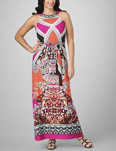This fresh and fabulous maxi dress combines amazing style and unparalleled comfort for a look you're going to love. A mixed print of geometric shapes, paisleys and flowers creates a very mod style. Sleeveless with a smocked scoop neckline with three straps is a sexy start. Self-tie belt at the waist adds figure-enhancing definition. Skirt flows straight to the floor. Available in misses sizes and plus sizes. fashionbug.com