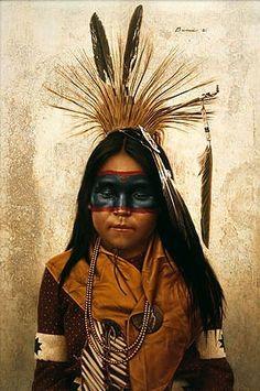 James Bama Indian Boy At Crow Fair