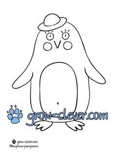 новогодняя раскраска пингвин скачать бесплатно / penguin coloring page