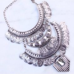 2 Left! NWOT silver coin jeweled necklace NWOT silver coin jeweled necklace Boutique Jewelry Necklaces