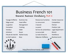 Series of business French lessons including general French business vocabulary, financial terms, job-hunting, French phone etiquette and more.