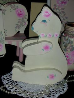 """JOINTED BEAR WITH ROSES 14.5x6x2.25"""" ej hp shabby chic cottage  hand painte OOAK #Unbranded"""