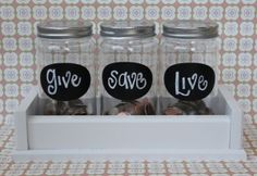 Money jars on pinterest chore rewards money and dave ramsey for Cute money saving jars