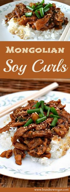 These Mongolian Soy Curls will be sure to please. Date syrup adds the sweetness … These Mongolian Soy Curls will Cooking App, Cooking Recipes, Vegetarian Recipes, Healthy Recipes, Healthy Meals, Curry Recipes, Eating Healthy, Veggie Recipes, Chicken Recipes