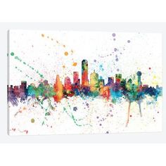 "East Urban Home 'Rainbow Splash Skyline Series: Dallas, Texas, USA' by Michael Tompsett Painting Print on Wrapped Canvas Size: 26"" H x 40"" W x 1.5"" D"