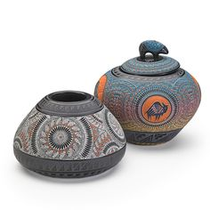 Marvin Blackmore -   Two carved and burnished vessels