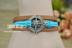Compass bracelet Blue leather ang brown bracelet by GiftShow, $2.99 Fashion handmade watches, gifts.