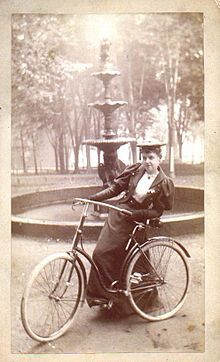 Woman with bicycle, 1890's have the outfit, now if Only I had the bike