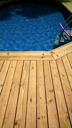above ground pool deck border ideas