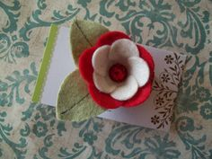 Red and Cream Felt Flower Hair Clip