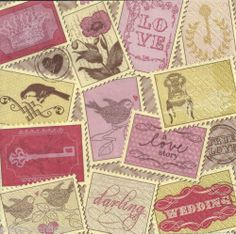 4 x Single Paper Napkins Vintage Style Love Stamps Decoupage Set