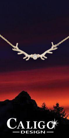 Elk Antler Pendant Necklace Gold - 14K Yellow gold with Diamond - Elk Jewelry #elk #elkantler #elkantlernecklace #elkjewelry #elkantlerjewelry