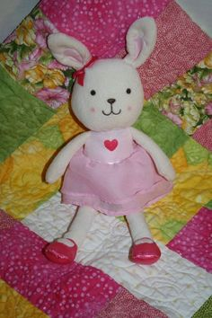 "Just One You baby girl Bunny Rabbit White Pink Dress soft plush toy 11"" Carters #Carters #BunnyRabbit #StuffedAnimal #SoftToy #PlushBabyToy #JustOneYou"