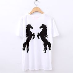 Womens White Letter Embroidery Horse Print Back Short Sleeve T-Shirt