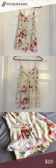 Urban Outfitters Floral Romper Pins And Needles short cream & floral romper! Looks like a dress but has shorts underneath. Lace up back, side zipper for easy on-and-off Urban Outfitters Dresses Mini
