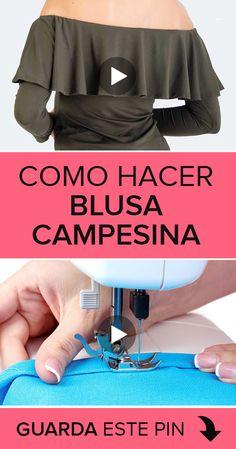 Como hacer una Blusa Campesina ???? #blusas Si quieres aprender como hacer una blusa campesina entonces este curso gratis es perfecto para ti.  ????Aprenderás como confeccionar una blusa campesina de forma muy sencilla. ¡Te esperamos! ????????????  #cursos #tutoriales #costura #sewing #sewingtutorials #sewingpatterns #sew #confeccion #corteyconfeccion #blusa #blusacampesina Diy Clothes Tops, Sewing Clothes, Fashion Sewing, Diy Fashion, How To Stitch Blouse, Shirt Cutting Tutorial, Sewing Tutorials, Sewing Patterns, Fitness Video