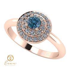 Inel de logodna din aur cu diamant albastru si diamante ES68